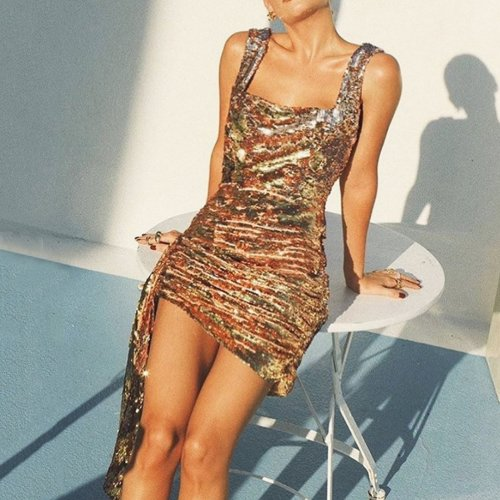 Sexy Glitter Square Neck Sleeveless Dress