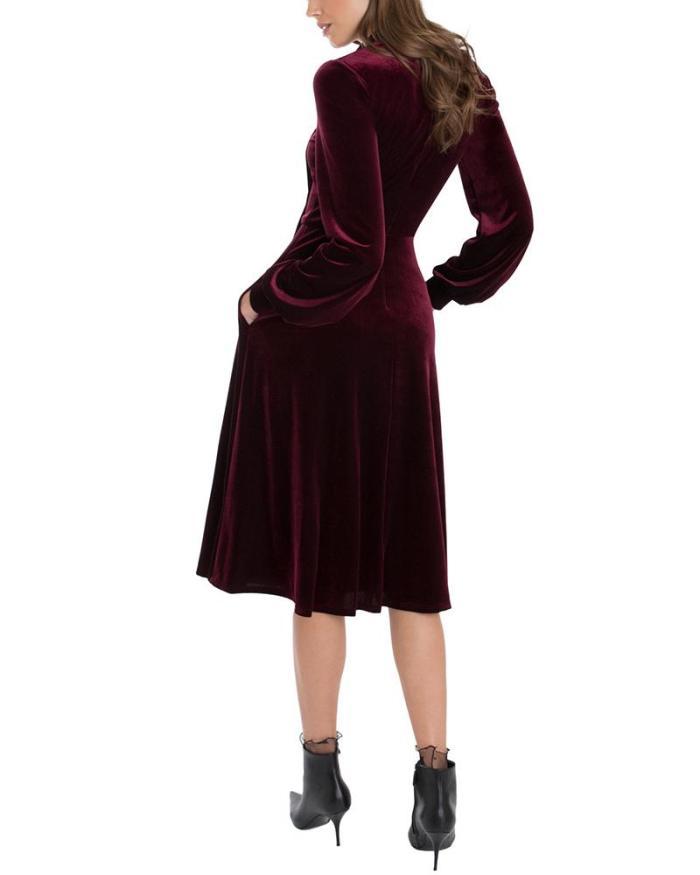 Hollow Bow Long Sleeve Evening Dress