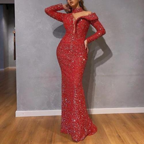 Elegant Sexy Paillette Halter One Shoulder Long Sleeve Evening Dress