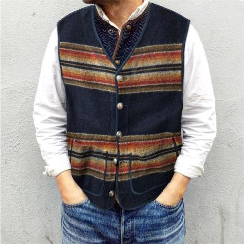 Flashmay Casual single-breasted color matching men's vest