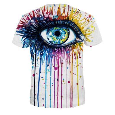 Graffiti Big Eyes Round Neck Digital Print T-shirt