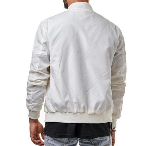 Fashion Casual Youth Slim Plain Zipper Long Sleeve Men Outerwear