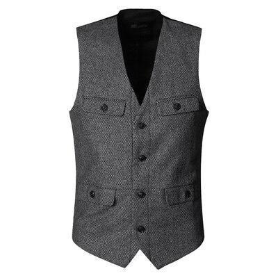 Army Green Woolen Multi-pockets Suit Vest Slim Men Military Brand Casual European Style Vest Waistcoat M127