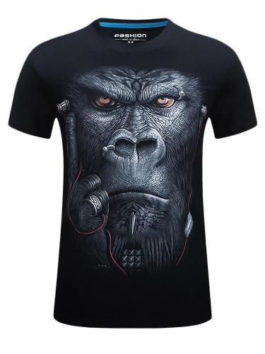 Stylish Mens Short Sleeve Monkey Ape Printed T-Shirt