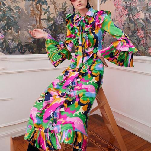 Flash Sale Fashion Prints And Floor-Length Dresses Evening Dress