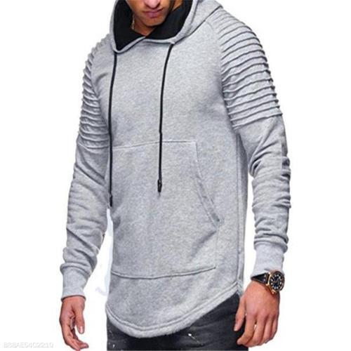 Fashion Youth Casual Loose Plain Long Sleeve Men Hoodie