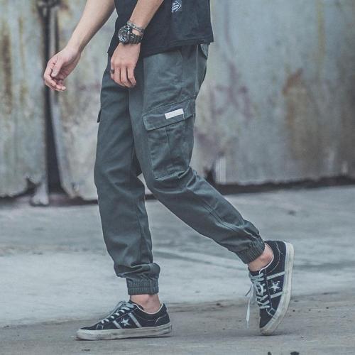 Fashion Plain Loose Multiple Packets Jogger Pants