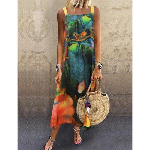 Plus Size 5XL Summer Woman Dresses Spahetti Strap Sleeveness O-Neck Bohemian Chiffon Ankle Length Floral Print Beach Woman Dress