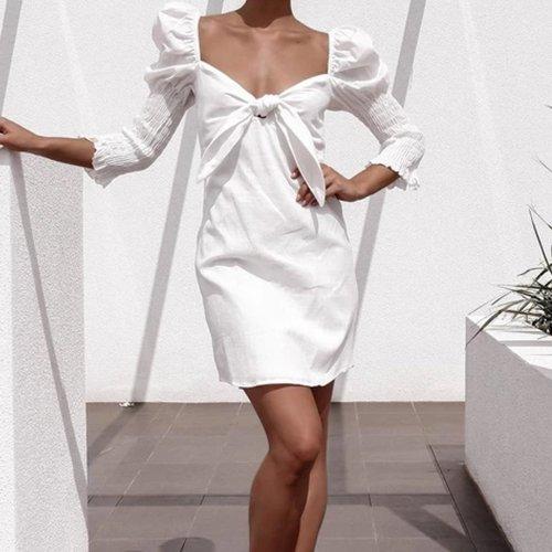 Square Collar Sheep Leg Sleeve Aristocratic mini Dresses