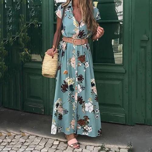 Elegant Flower Printed Maxi Dress