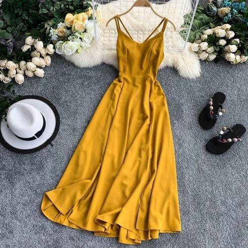 JOYMANMALL Beach Style Solid Vestidos Zipper Backless Sexy Summer Dress A-line 2020 Sleeveless Long Dresses Ropa Mujer 11852