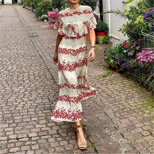 Fashion Floral Printed Round Neck Short-Sleeved Ruffled Slim Dresses Evening Dress