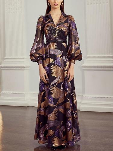 Elegant Turndown Collar Long Lantern Sleeve Printed Dress