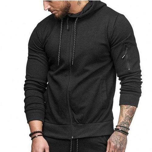 Men's Sports Cardigan Sweater Arm Zipper Fashion Casual Jacket Top