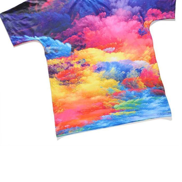 3D Colorful Cloud Print Round Neck T-shirt