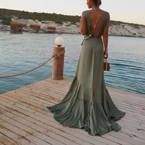 Sexy Deep V Collar Flouncing Maxi Dress