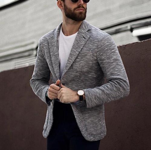 Business Casual Men'S Long-Sleeved Blazer