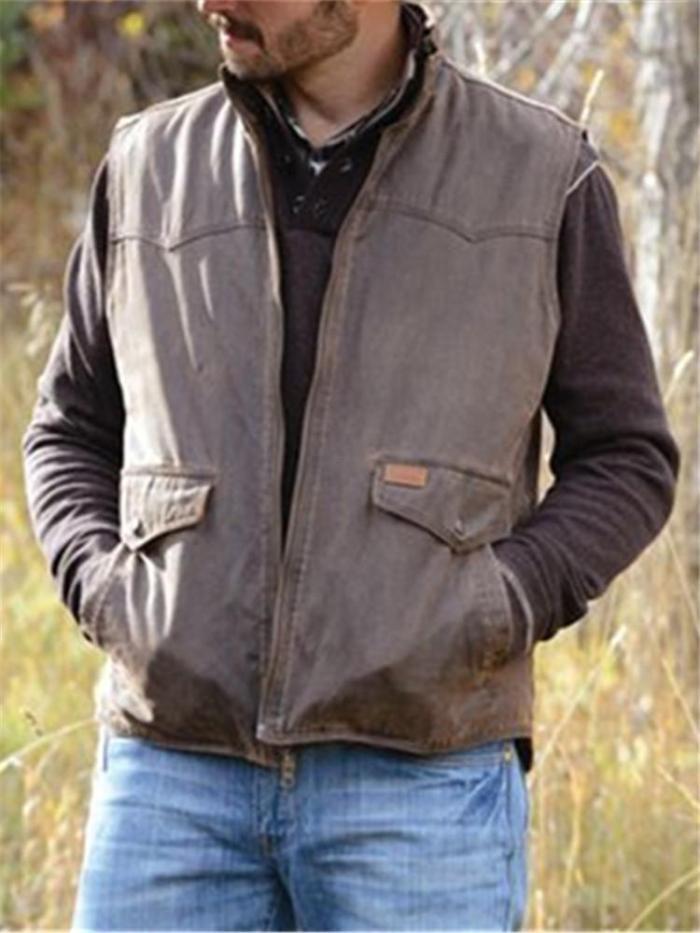 Men's Fashion Retro Fit Solid Color Vest