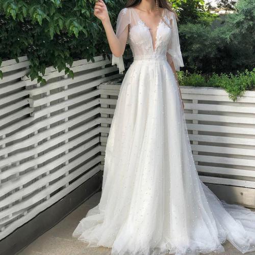 Elegant Deep V Neck See-Through Pearl Floor-Length Dress