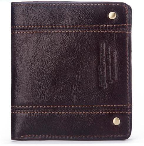 Thin leather men's short wallet