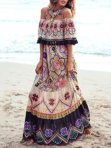 Bohemia Off-the-shoulder Maxi Dress