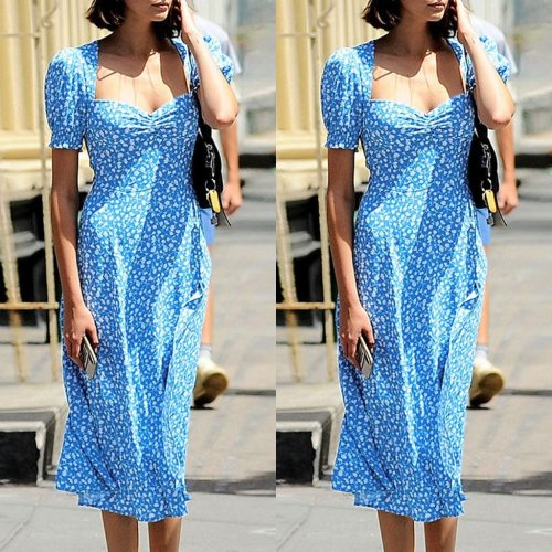 Sexy V Neck Short Sleeve Wrap Front Floral Print Office Maxi Dress