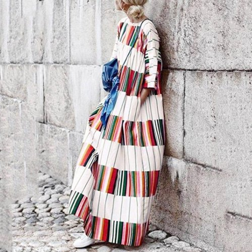 Long Dress Vintage Casual Loose Bohemian Spring Autumn Printed Patchwork Beach Pockets Maxi Dresses