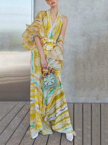 Bohemian V Neck Printed Colour Irregular Splicing Dress Evening Dress