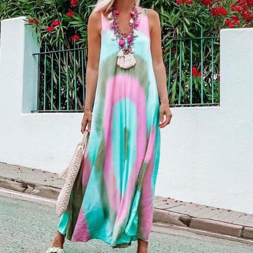 Straight Tie Dye Long Dress Summer Beach Side Split Casual Maxi Dress Boho Loose Sleeveless Loose Casual Dress
