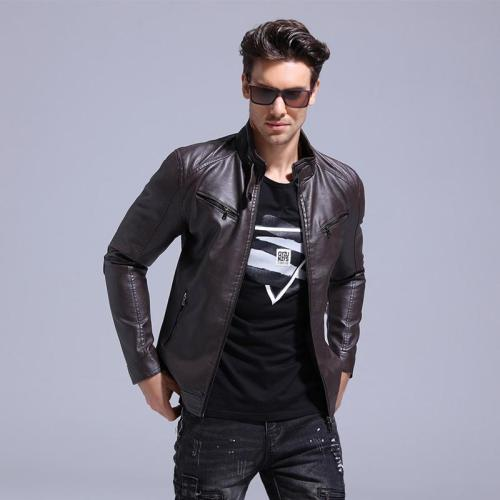 Men's solid color casual motorcycle leather collar
