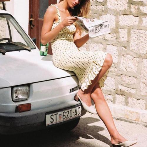 Wooden Ear Sling Pleated Polka Dot Dress
