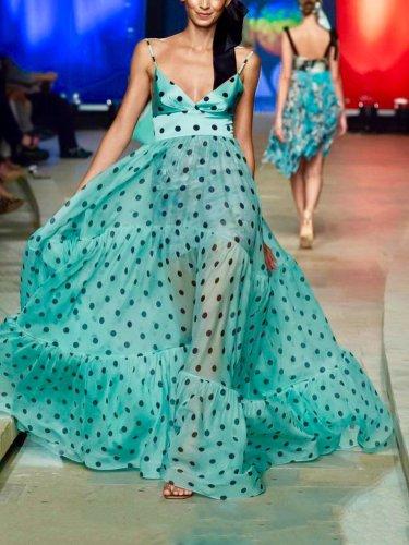 Sexy V Neck Polka Dot Sleeveless Maxi Dress Evening Dress