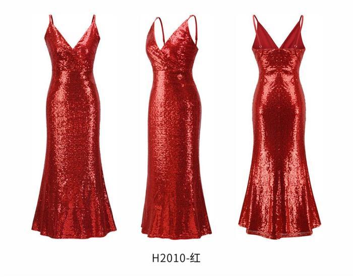 Elegant Prom Dress Pretty Sexy V-neck evening Dress sequins mermaid Long Evening Dresses Party elegant Evening Gown