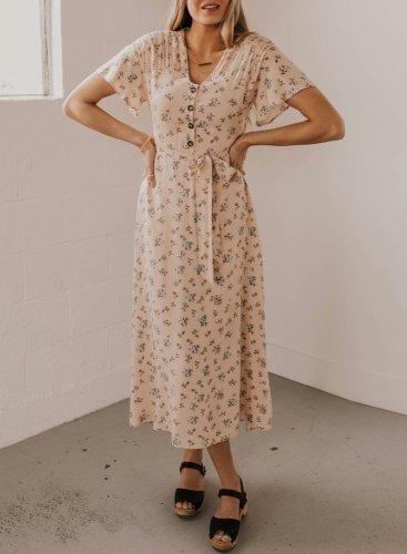 Casual V-neck Floral Maxi Dress