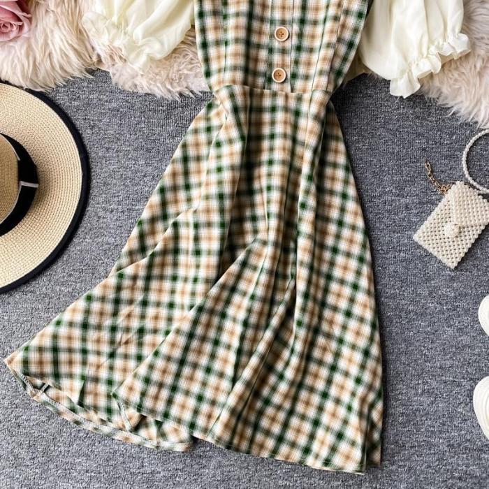 JOYMANMALL Women Sexy Off Shoulder Short Dress 2020 Summer New Puff Sleeve Patchwork A-line Dress Korean Retro Fashion Plaid Dress