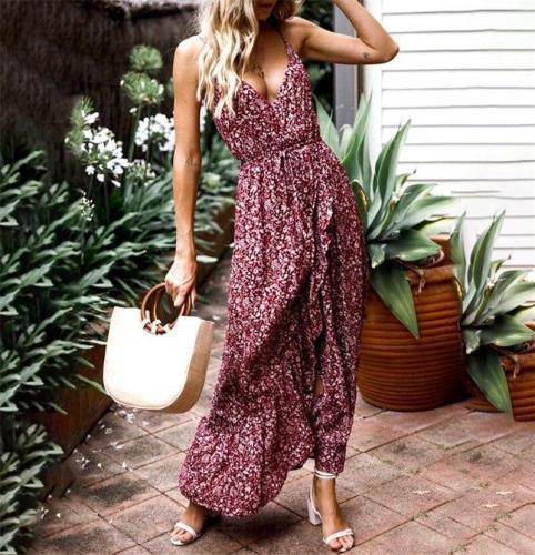 V-neck Split Women Floral Dress Elegant Bohemian Wrap Long Flower Plus Size Summer Casual Dress