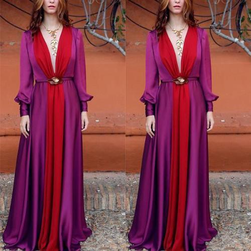 Long Sleeved Deep V Color Matching Dress Evening Dress
