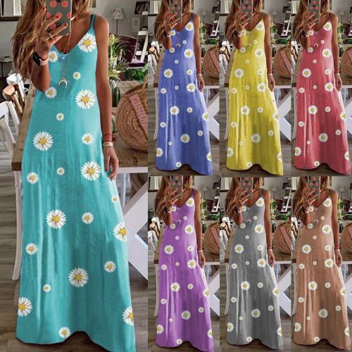 Daisy Print Dress Women Plus Size 2020 Casual Summer Sleeveless  Beach Sundress Sexy V-Neck Lady Maxi Party Casual Dress