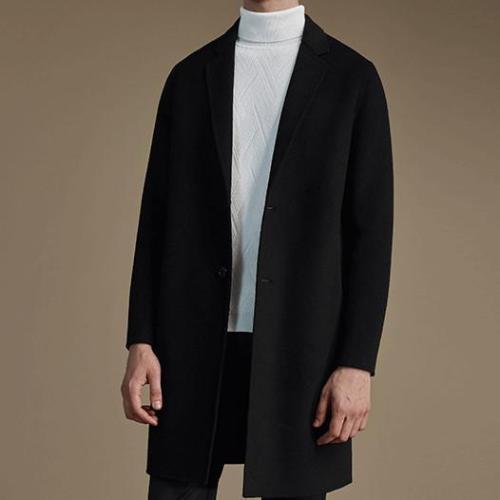 Chic Fashion Lapel Plain Shoulder Padding Long Sleeves Long Coat