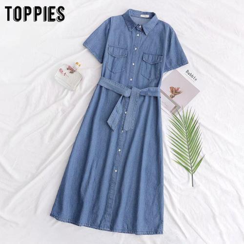 summer short sleeve denim shirt dress sashes button women midi dress solid color a-line vestidos 2020