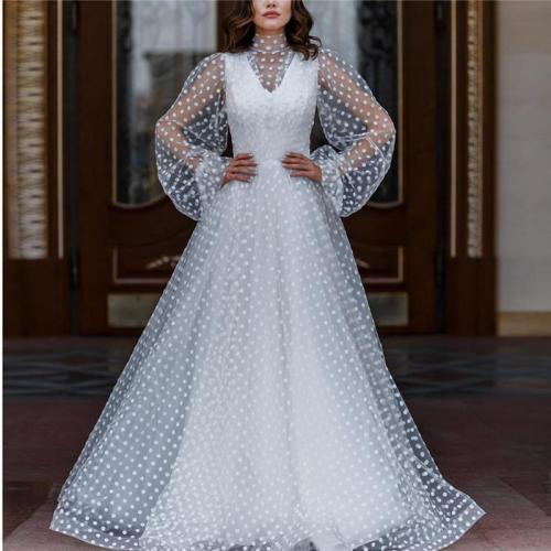 Polka dot mesh perspective puff sleeve dress