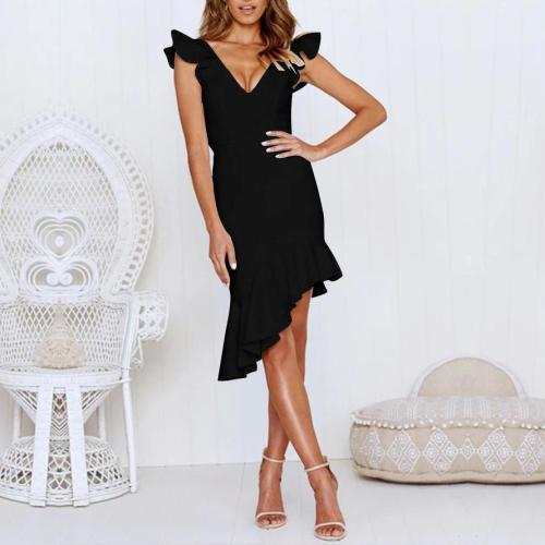 Sleeveless Deep V Ruffled Fishtail Slim Dress