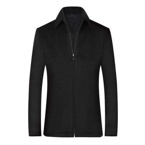 2020 Men's Wool Jacket Coat Male Black Business Casual Coats Brand Clothing Men Woollen Overcoat Father Gift BF517