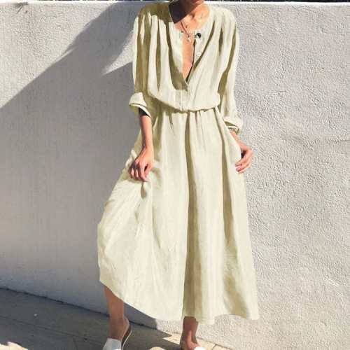 Vintage Solid Dress Women High Waist Shirt Dresses Loose Casual Party Office Midi Vestidos Female Holiday Maxi Dress