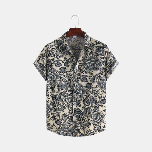 Mens Ethnic Style Ptinting Loose Turndown Collar Short Sleeve Casual Shirts