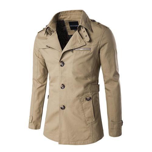 Casual Fashion All-Match Plain Slim Wide Lapel Wind Coat