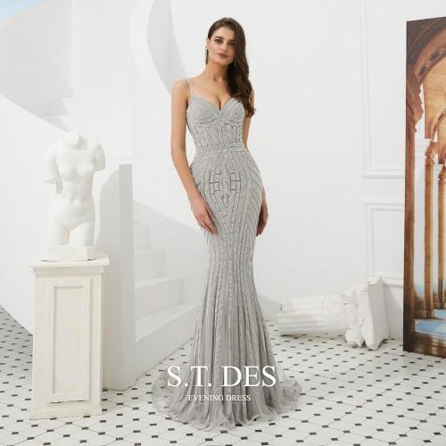 2020 S.T.DES Sexy Full Sequined Beaded Stripe Spaghetti Prom Dress  Sweetheart Sweep Train Evening Dress Woman robe de soiree