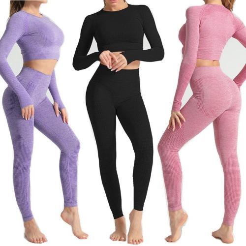 Women Seamless yoga set Fitness Sports Suits GYM Cloth Yoga Long Sleeve Shirts High Waist Running Leggings Workout Pants Shirts