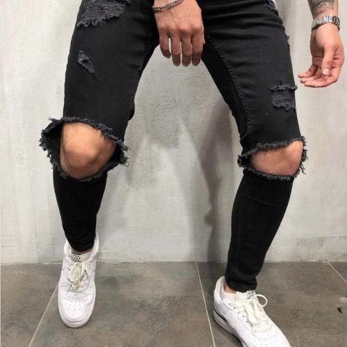Men's Knee Hole Jeans Zipper Youth Slim Stretch Slim-Fit Pants