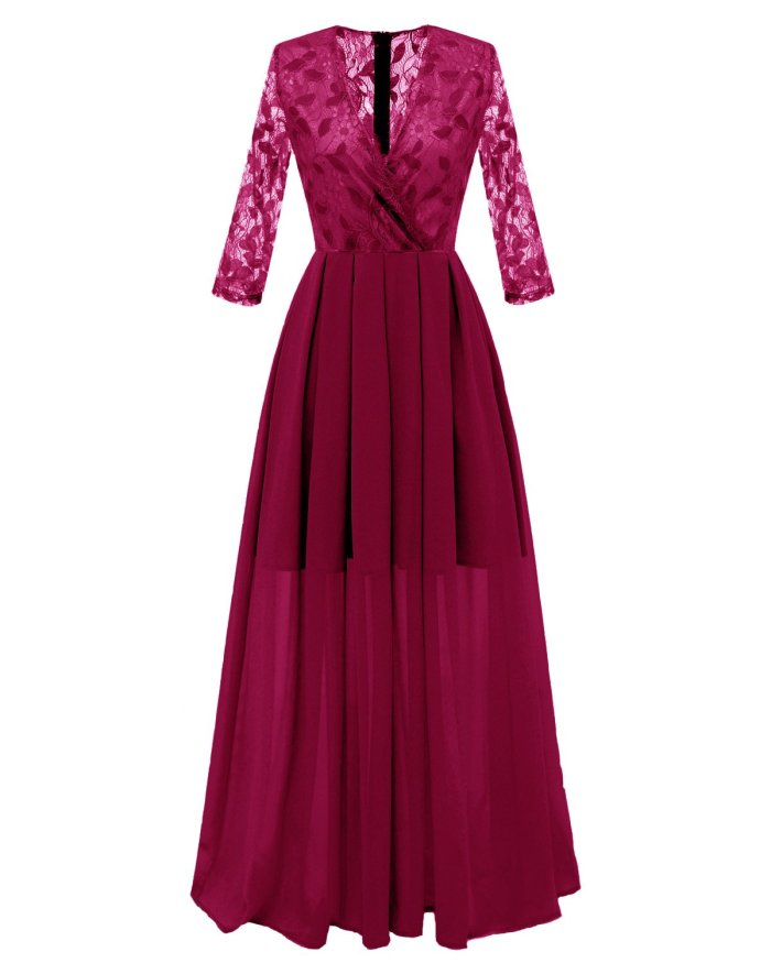 fashion Sweet Lace V-neck Long Evening Dress elegant Party Sexy Chiffon high quality Prom Dresses evening gown